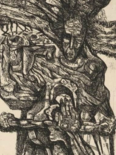 """Эрнст Неизвестный (1925-2016), Тотем (1969) из серии """"Тотем"""", фрагмент, офорт 64.4 x 17.8 см"""